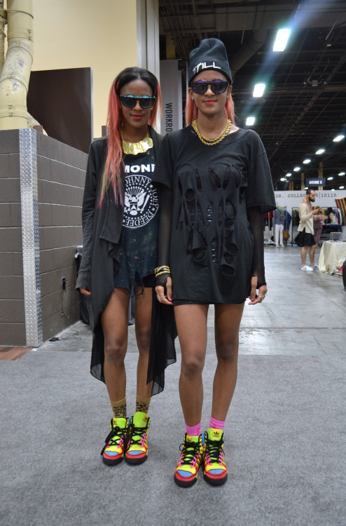 We ran into the talent twin-duo @cocoandbreezy at the @projectshow who were showing their accessories line. We also featured them in our Style Tribes report last year. WGSN street shot, Las Vegas.
