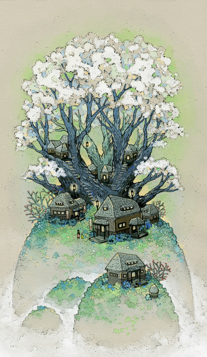 "Nicole Gustafsson - ""Blossom Hill""14.5"" x 19.5"" (framed) - Gouache and ink on paperPart of Spoke Art's Summer Group Show - on view at our San Francisco gallery from August 2nd - 25th 2012. View the rest of the works from this dynamic group show here -http://store.spoke-art.com/collections/summer-group-show"