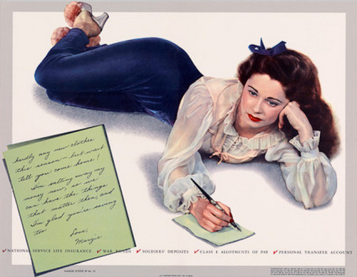 "(via Vintagraph - A Message from Margie)  Wholesome WWII pinup Margie Stewart appears in this war bonds poster. Her note reads, ""hardly any new clothes this season - but wait till you come home! I'm salting away my money now, so we can have the things that matter then, and I'm glad you're saving too. Love, Margie."""