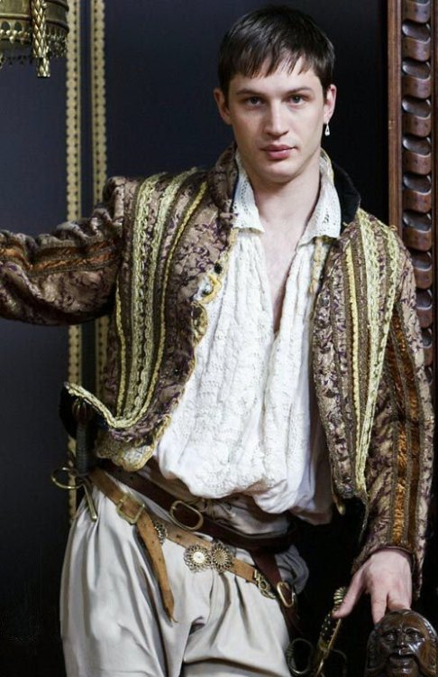 "And Tom Hardy, as Robert Dudley, is a right piece — 10 per cent sexual petulance, 90 per cent straining hose, 100 per cent likely to provoke the Google search ""Tom Hardy"" ""early art film"" ""nude scene"".   - from a review of The Virgin Queen in The Times. All true."