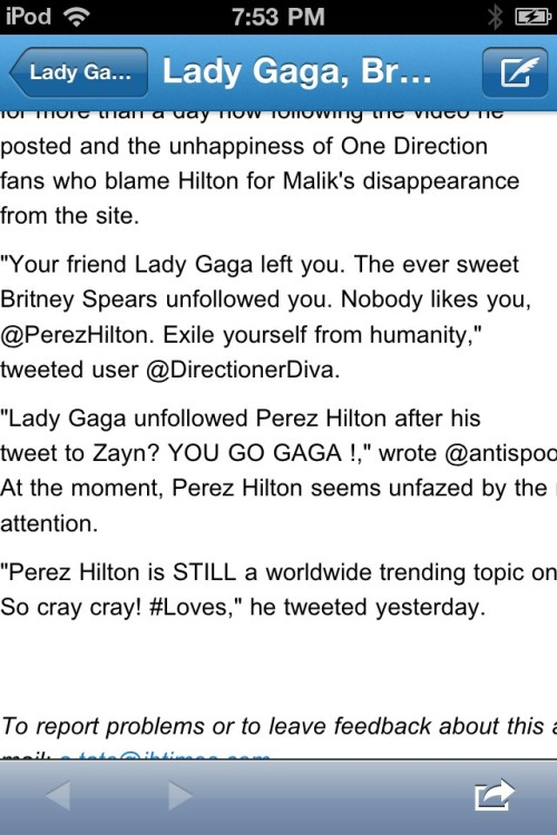 I got featured in an article about Perez Hilton. I'm @DirectionerDiva Article: http://t.co/pBfPoKSJ