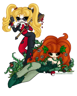 fyeahpoisonivy:  [Trauma Warning: blood] [Image: A full color cute illustration of DC comics characters Poison Ivy and Harley Quinn. Ivy is lounging on the ground looking at the viewers with a smile. Harley is standing over her with her mallet and pop gun looking directly at the viewers confidently. She has her blonde pigtails uncovered and there is some cartoony style blood dripping off her mallet.] batman-milenec:  2 Gotham Sirensby ~JandieMeraii