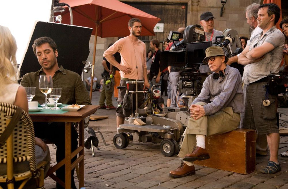 Woody Allen on the set of Vicky Cristina Barcelona