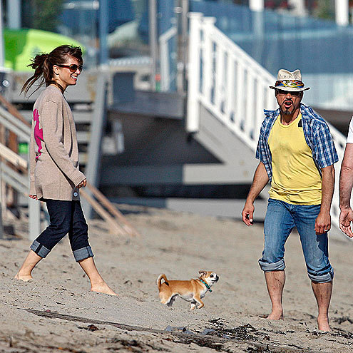Robert Downey Jr. on the beach with a small dog.