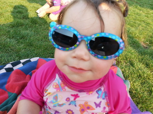 Too cool for school! Lydia at the water park in her stylin shades.