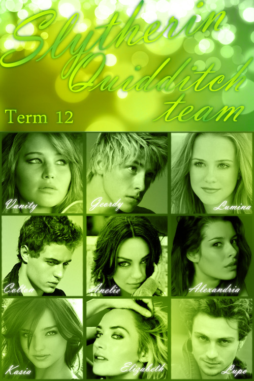 la-slytherwin:  quillelizabeth:  Slytherin Quidditch team Term 12  by Liz, who is awesome.