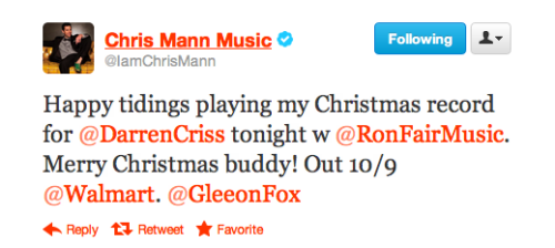 staceysthings:  Ron Fair is producing Darren's album.  Chris Mann was a Glee studio singer and original Warbler before he did The Voice.