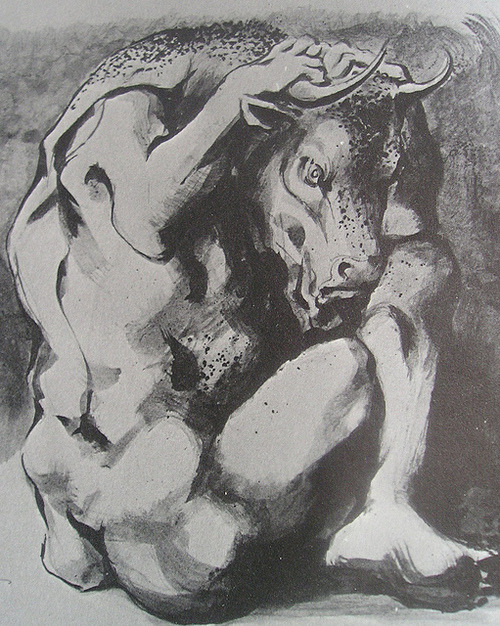 vdjango:  Study for The Minotaur in Jeopardy - Michael Aryton 1966