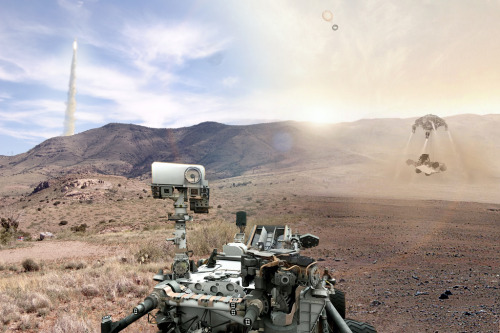 "Curiosity: Between Two Worlds  ""This digital composite is a tribute to Curiosity, uniting Earth and Mars across a cosmic divide of over 350 million miles."""