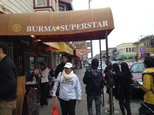 @ Burma Superstar This place is delicious, it deserves a line. They actually do an awesome job of taking people's names down, having a bench outside, and other smart things that deter people from standing in line like zombies down the street.