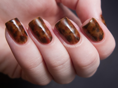 chalkboardnails:  Tortoiseshell Nails These nails were created using three jellies in shades of brown. The particular shades I used were made for me by the amazing Lulu at Elevation Polish and aren't for sale, but you could make your own by mixing brown polishes with clear!