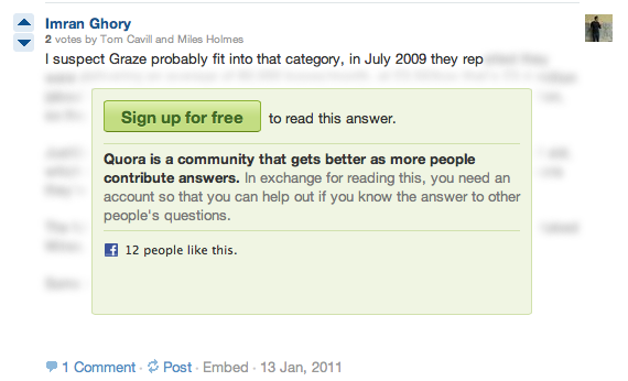 Dear Quora: of all the ways to encourage sign-ups, obscuring text is pretty sucky and shameless.
