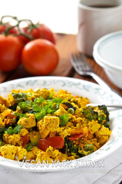 yackattack:  Tofu Breakfast Scramble for Two! A hearty, tasty, but healthy breakfast scramble that's a perfect meal for two. With nearly 25 grams of protein per serving, this will definitely keep you satisfied! Get the recipe at Vegan Yack Attack!  YUM.