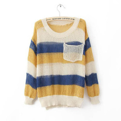 NEONICE Colorful Rainbow Stripes Poket Sweater http://www.dressesinn.com/neonice-colorful-rainbow-stripes-poket-sweater-p-5465.html