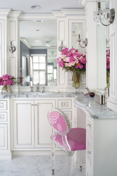 white and pink luxury bathroom