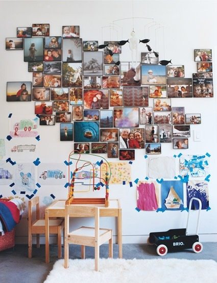 photo display on the kids' wall