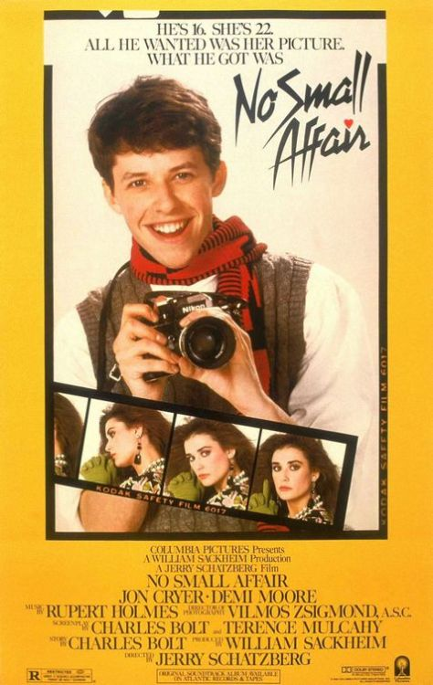 No Small Affair (1984)  The 16 years old amateur photographer Charles accidentally takes a photo of Laura - and falls in love with her, when he develops the picture. He finds out that she works as singer in a bar, but is about to be thrown out. Although rejected at first by the 23 years old, he wants to help her and starts an ad campaign behind her back… with unexpected results.  Cast: Jon Cryer, Demi Moore Follow this blog for the neverending list of all the teen movies ever made!