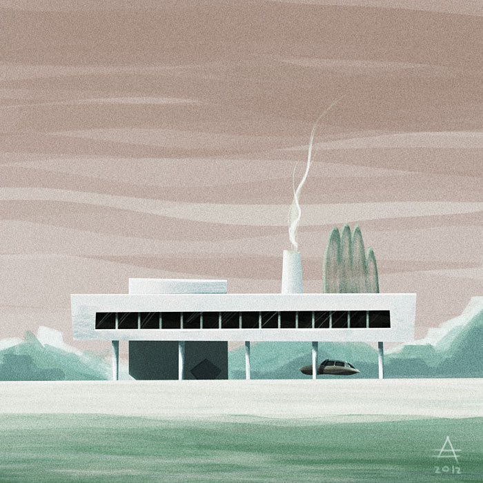 Practicing a new style, reminiscing about my past in architecture. Prints available in my STORE.