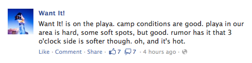 Facebook update from the camp i'm with.  That's good news for riding bikes :) We're right next to Tetris Camp on the Esplanade between 915 and 930.