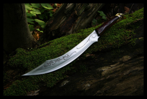 The inscription on the blade reads Gûd daedheloth'Foe [of the] great-fear' [intended to mean: 'Foe of Morgoth's Realm']   gûd n. 'foe'; CE *ñgoto, *ÑGOT-, ÑGOTH-. daedheloth n. 'great-fear'; cf. daer 'great', mut. dheloth is a lenited form of deloth 'abhorrence, loathing'.