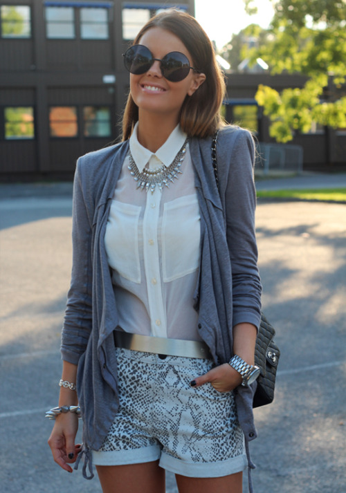 pretaportre:  Olso fashion blogger Annette Haga of Nette Nestea in 'Happy Face' wearing a Helmut Lang jacket, H&M shirt, Second Female shorts, Topshop jewelry, Nelly belt, Chanel bag, and a Michael Kors watch.
