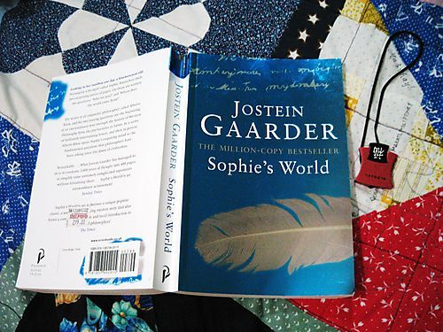 SOPHIE'S WORLD by Jostein Gaarder I am taking up a short course in Philosophy here. Haha.For the first 32 pages I read I can really say that it is a good book. It ignites one's curiosity and eagerness to search for answers. It also made me realize that we should be always amazed with life.Definitely a must read. :)NOTE : the photo is from http://gogirlcafe.jennyo.net/2009/jostein-gaarder-sophies-world/ and it is not mine.