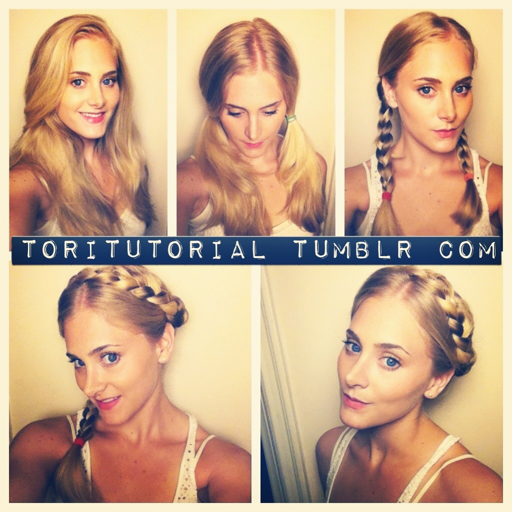 German Braid 1) You can do this style with straight or curly hair.  If you start with straight it will be more sleek, and if you start with curly it will be more boho. Both are great! 2) Part hair all the way down your head as if prepping for pigtails.  I like to put my hair slightly off center, but you can really part it wherever you want as long as each pigtail hair section is  pretty much even.   3) Braid your pigtails. 4) Wrap one side of the braid around your head, and secure tightly with bobby pins. 5) Repeat with the other braid. VOila—you're dutch!