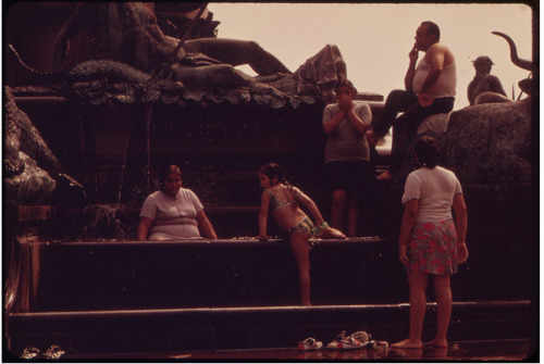 Fountains Surrounding PMA Are Especially Popular in a Heatwave, August 1973