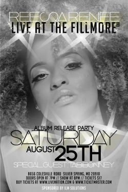 "This Saturday August 25, Come out to Reesa Renee's album release party at the Filmore in Silver Springs. The official album, ""Reelease"" debuts Tuesday Aug. 28th. Come out and get your copy early!"