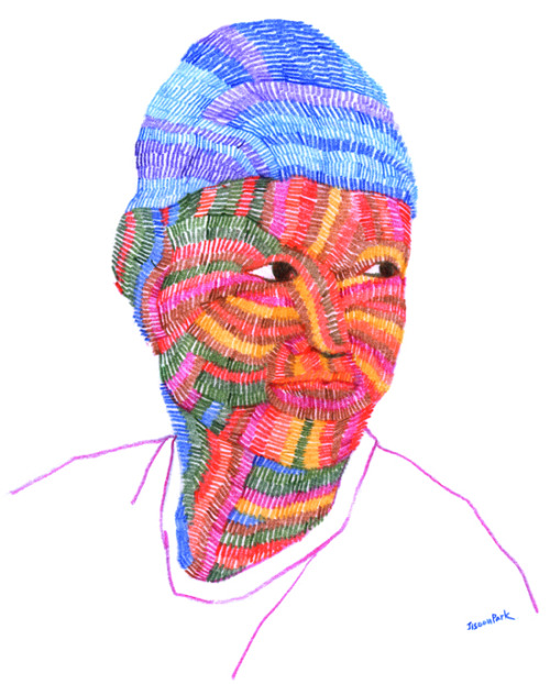 jisoonpark:  <I draw your face> Seonghyuk Hong2012, color pencils on paper