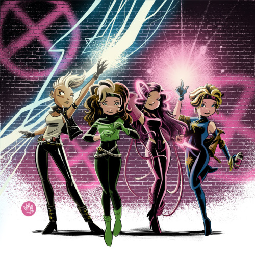 Storm, Rogue, Psylocke, and Dazzler sporting their fabulous 80′s fashions (Tattoo commission) | by Mike Maihack (mikemaihack)