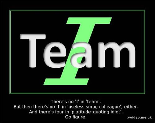 "No 'i' in Team Another found/adapted version of the (de)motivational saying "" there's no 'I' in team."" See a previous version here"