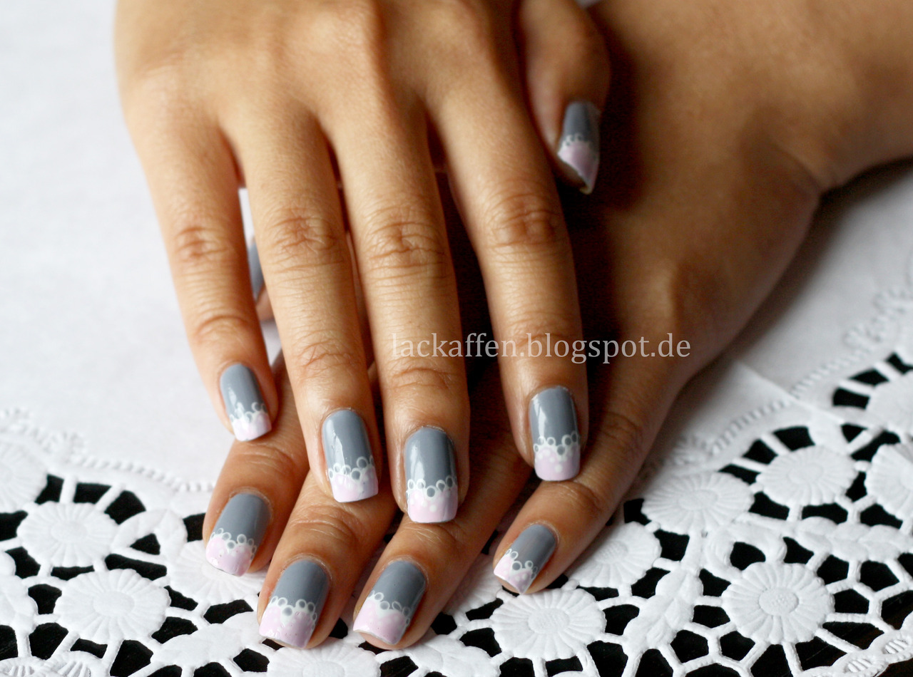 Simple Lace Nail Art, more to see/read on my blog :) Nail polishes I used: Essie - Cocktail Bling Misslyn - 90 (white) OPI - Mod about you