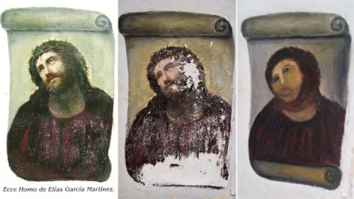 Elderly Woman Tries to Touch Up Painting of Jesus, Fails She really got Jesus' nose perfect.