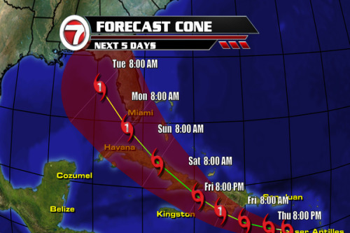 11am update: Tropical Storm Isaac is located at 15.6N 65.4W moving W at 15 mph w/ max. sustained winds at 40 mph.