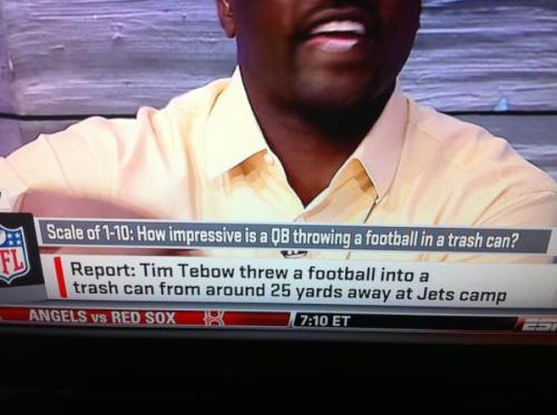Today In Extraordinary ESPN Tebow Fluffing. Give it a 3.5, but that's a LEGIT 3.5.