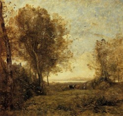 allthepainting:  Morning Woman Herding Cows, Artist: Corot  every time i see a pastoral scene like this i just want to be there so bad.