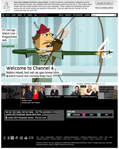 Meanwhile, on Channel4.com…Latest project, on which I've been the Animation Director, gets a big mention of Channel 4's Homepage! Stoked.Go check it out, part of the recent series of work I've been involved in with Modern Toss!