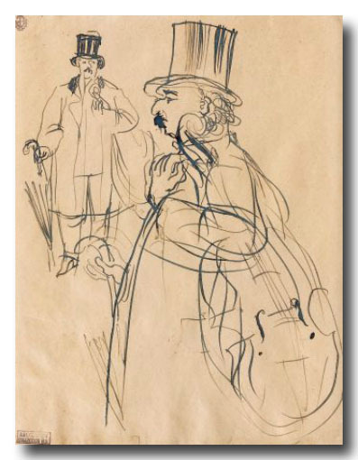 music-in-art:  Raoul Dufy - Le Musicien, feuille d'étude, dessin à l'encre sur papier, 26 x 20 cm, collection Henri Gaffié, Paris, France