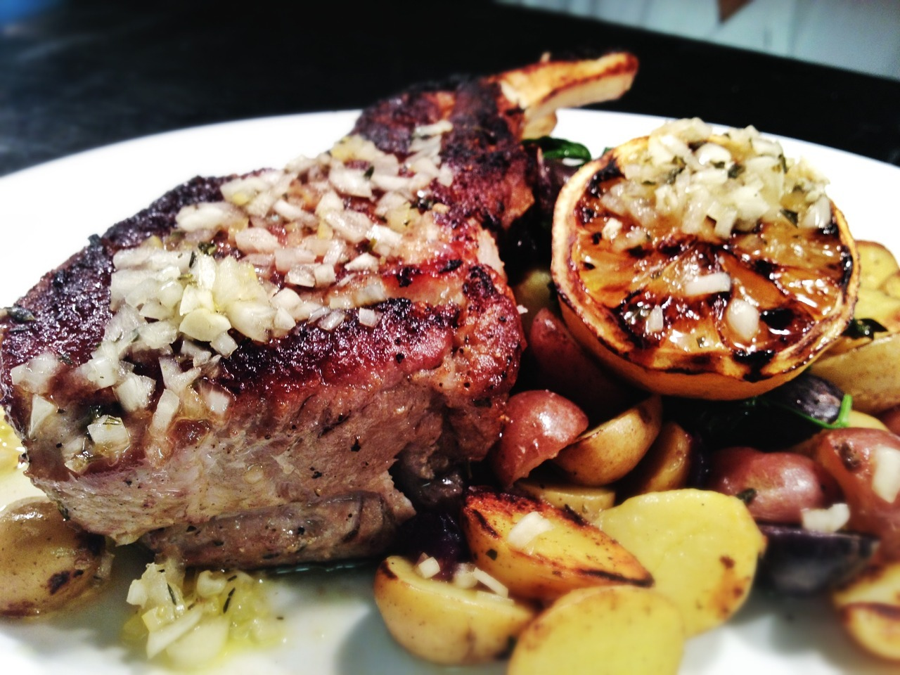 Featured non-fish item of the day:  DOUBLE CUT PORK CHOP Heirloom Potato, Agro Dolce for $28.