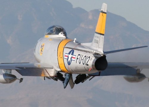 North American F-86 Sabre: rear view during take-off