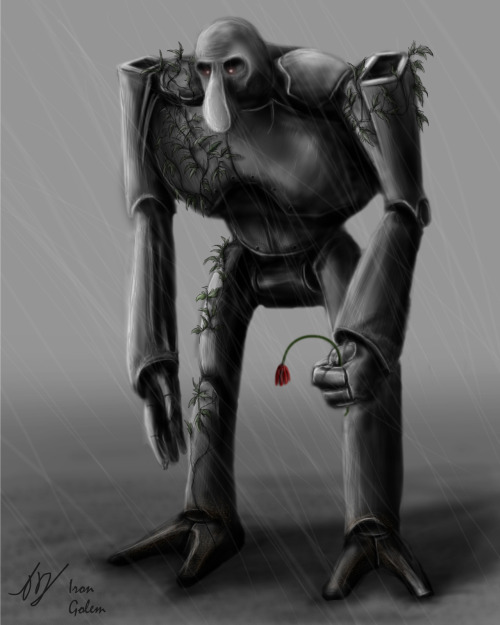 Photoshop Digital-Painting of an Iron Golem from Minecraft.