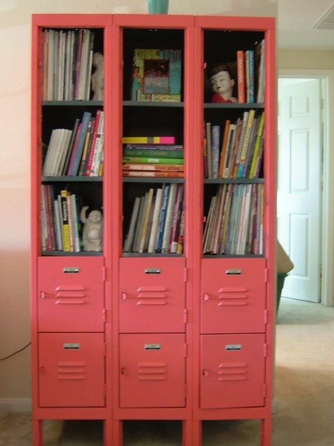 Old lockers as bookshelves