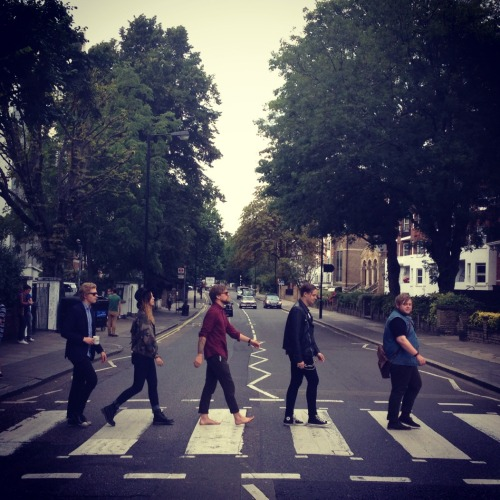 "ofmonstersandmenmusic:  We're hanging out at Abbey Road Studios today with Absolute radio! And of course when on Abbey Road, do as The Beatles did.  Also, UK friends…our album ""My Head is an Animal"" is having it's release this Monday August, 27th. You can pre-order it  here at iTunes. Thank you all for the continued support! x Monsters"