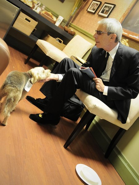From Morning Joe: Actor and author Richard Belzer with his dog Bebe in the Morning Joe green room earlier today. (Photo credit: Drew Katchen | nbcnews.com)
