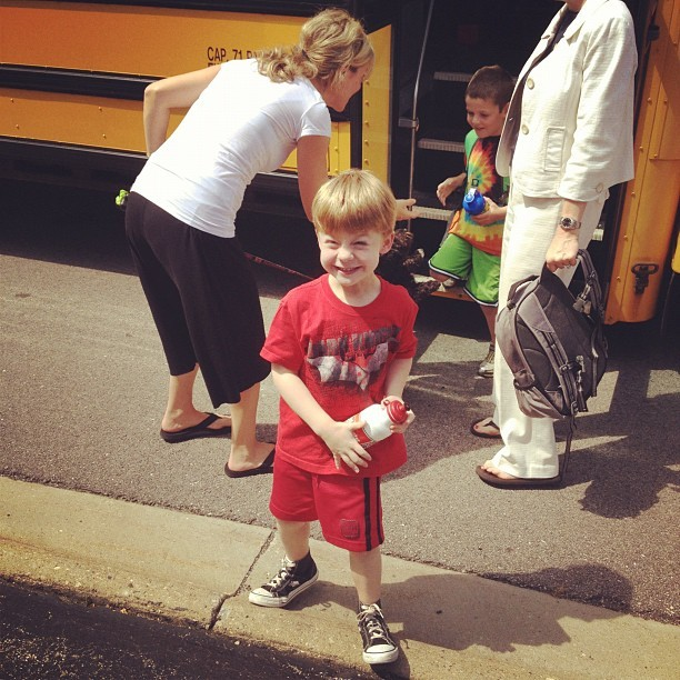 Big boy getting off the bus. (Taken with Instagram)