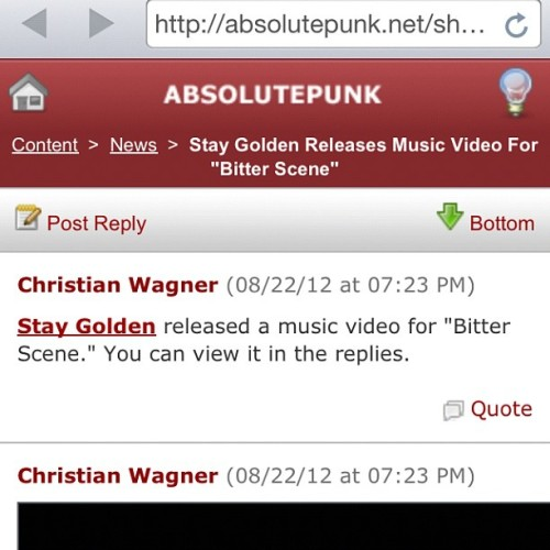 "Our music video for ""Bitter Scene"" is now #streaming on @Absolutepunk !  Check it out?  #music #video #staygolden #chicago #poppunk #rock #pop #ig #igers #instagood #instalike #20likes (Taken with Instagram)"
