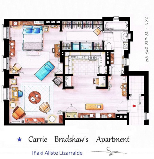 Jealous of Carrie Bradshaw's apartment (especially since I'm on the hunt for a new place right now). Ugh.