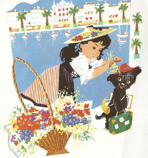 "iconoclassic:  ""Le Voyage de Pipo"", Hachette 1954. Illustrated by Pierre Probst. (via Nice time in Nice 