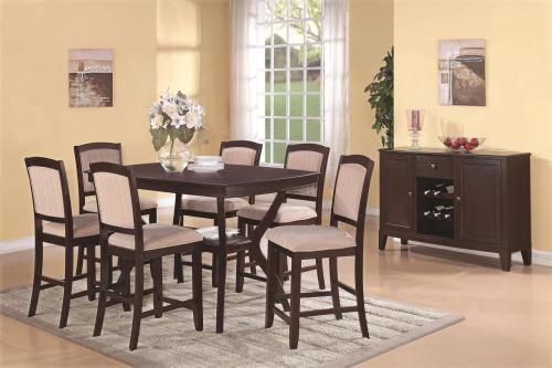 You can have the best of both worlds with this functional and stylish dining room collection. The collection consists of tables and chairs that offer arrangements from a small four person table to a family size six person table. The collection effortlessly combines casual style dining with a formal aesthetic quality, allowing it to be used as in a casual kitchen setting or in a formal dining room. The rich Cappuccino finish simply exudes a polished, refined feel while drawing people in with its deep warm tones. Even the chairs will draw in your family and friends with its upholstered, durable cloth fabric. Adorn your home with a collection that will leave you with great memories of food, fun and conversation for only $1,329!
